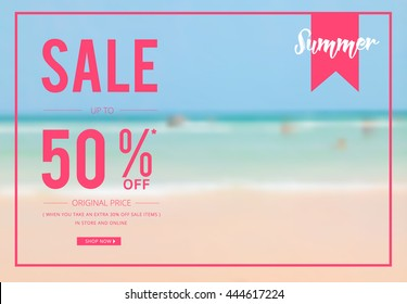 Summer sale template, banner, poster designed with beach background photo illustration EPS 10. For your sale promotion, ad, poster, flier, blog, article ; in social media, and other marketing.