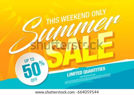 summer sale template banner vector illustration のベクター画像素材