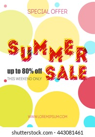 Summer sale template. Color background for business.