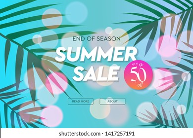 Summer Sale template, web banner. End of season, up to 50 percent off, vector illustration