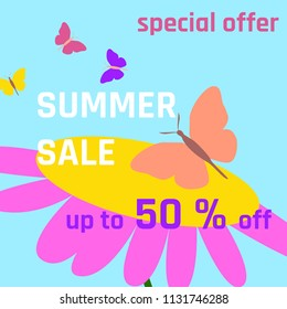Summer sale the text poster with flouwer and batterfly on blue background.Vector Illustration for banner, poster, flyer, card