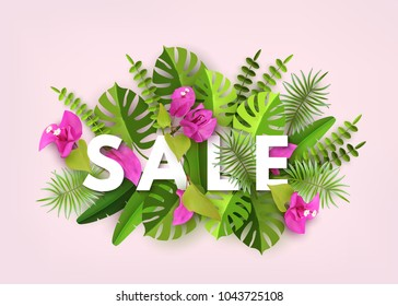 Summer Sale, Trendy Tropical Leaves, Plants Flowers Bougainvillea. Green abstract background with tropical foliage and flowers. Cut paper. Vector Design