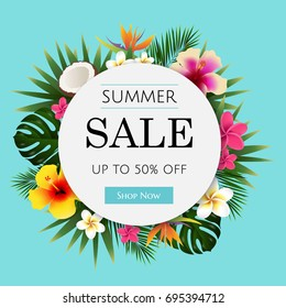 Summer Sale Tropical Banner, With Gradient Mesh, Vector Illustration