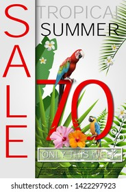 Summer Sale Tropical banner, poster Seasonal Promotion with Exotic Flowers, palm leaves, hibiscus. Discount Template Design background for Poster, Flyer, Gift Certificate, Banner.