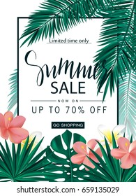 Summer sale. Tropical banner, poster with beautiful flowers, plants and leaves . Vector illustration