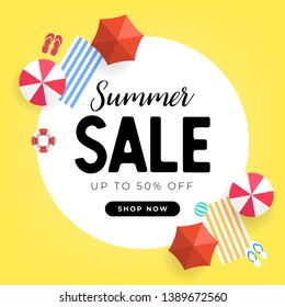 Summer sale tropical beach top view banner template.