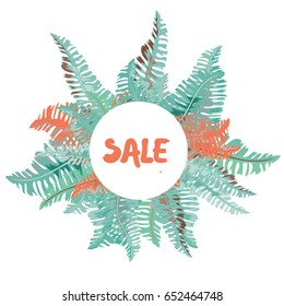 Summer sale. Tropical leaves background.  Vector illustration of orange, yellow and red leaves on white background
