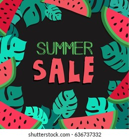 Summer Sale. Tropical vector background.