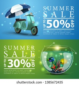 Summer sale, two discount banners for your website with scooter with a beach umbrella and round aquarium with fish