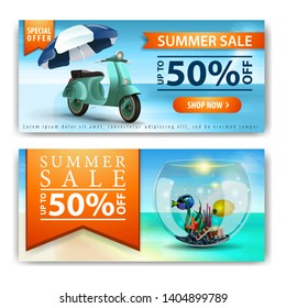 Summer sale, two horizontal discount banners for your business with scooter with a beach umbrella and round aquarium with fish
