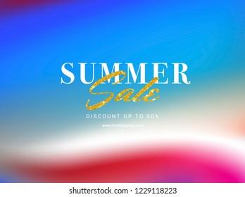 SUMMER SALE TYPOGRAPHY. PASTEL BRIGHT COLORS GRADIENT BACKGROUND. RETRO GRADIENT.