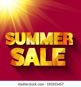 Summer sale typography. Vector background