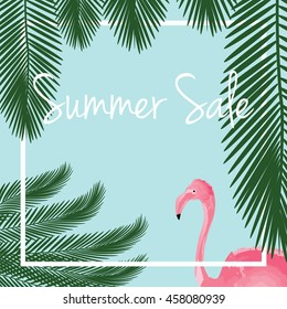 Summer sale vector. Summer sale background with flamingo and palm tree leaves.