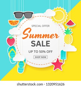 Summer sale vector background. Paper cut. Can used for banners,Wallpaper,flyers, invitation, posters, brochure, voucher discount. Vector illustration