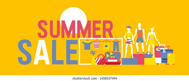 Summer sale vector banner. Summer decoration with cartoon people in beach cloths and suitcases. Illustration with discount offer. Concept of seasonal vacation in tropical country.