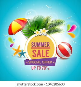 Summer sale vector banner design for promotion with colorful beach elements behind yellow circle in blue background. Vector illustration.