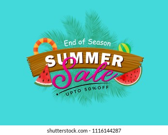 Summer Sale Vector Banner Design Background with palm tree and sun