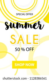 Summer sale vector banner design top view flat sunlight protect hat, for summer shop blackground and sale discount voucher