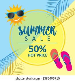 Summer sale vector banner design for promotion,