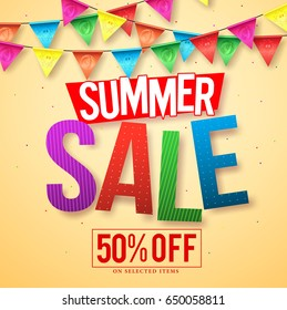 Summer sale vector banner design with colorful sale text and streamers hanging for seasonal discount promotion. Vector illustration.