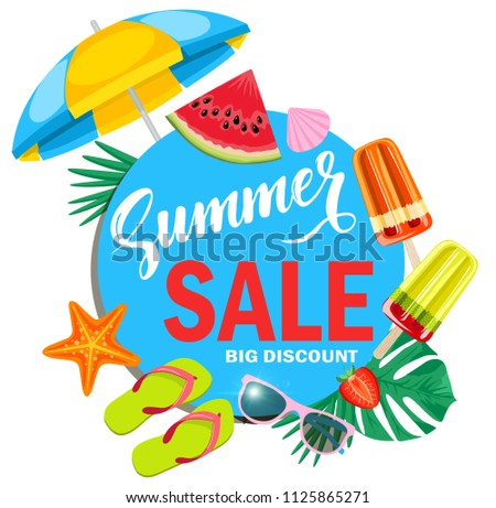 fda1619d9 Summer sale vector banner design for promotion with colorful beach elements  behind blue circle in white