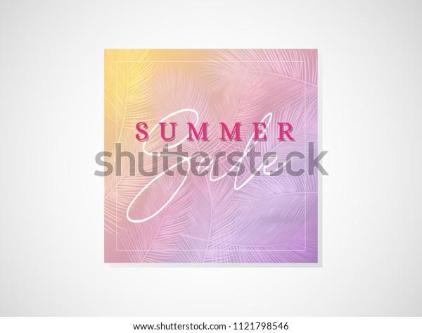 Summer Sale Vector Banner Design Background With Palm Tree For Banner, Flyer, Poster, Brochure.
