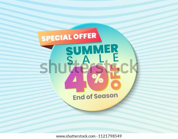 Summer Sale Vector Banner Design Background For Banner, Flyer, Poster, Brochure.