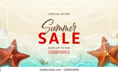Summer sale vector design banner. Summer background with top view on realistic seashells and starfishes on beach in sea water. Vector illustration with special discount offer.