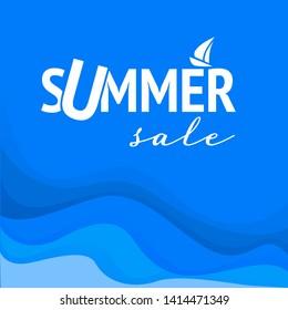 summer sale, vector discount banner template design