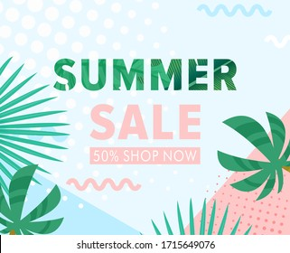 Summer sale vector illustration. Cartoon flat floral banner with jungle palm tree leaf and tropical green garden leaves. Discount design background, special offers promotion business advertising