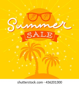 Summer Sale Vector Illustration. Hand Lettered text with Glasses and palms in the background.