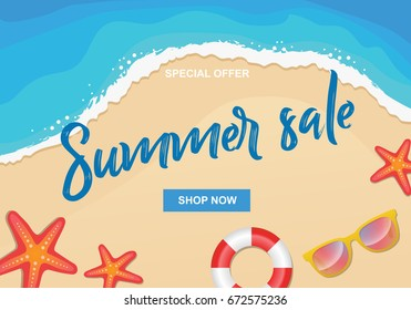 Summer sale vector illustration with sun glasses, sea stars and buoy on sea shore beach background, design template