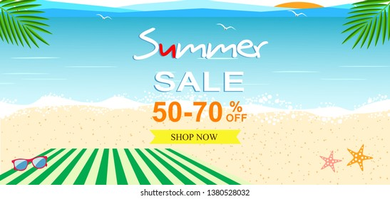 Summer sale vector illustrator,desing  for promotion with colorful beach