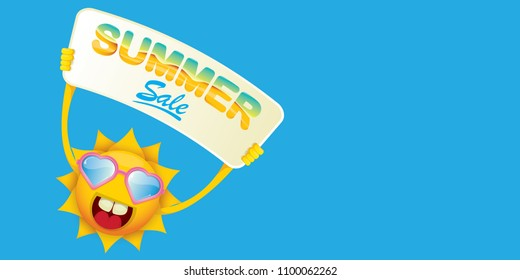 summer sale vector label or horizontal web banner. summer happy sun character holding sign or banner with special offer sale text isolated on blue horizontal background
