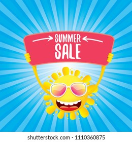 summer sale vector label or web banner. summer happy sun character holding sign or banner with special offer sale text isolated on blue background with rays of light