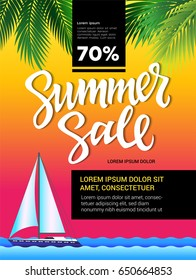 Summer Sale - vector leaflet, brochure, flyer, banner template with hand drawn brush pen lettering and filler text. Yacht in th sea, palm tree leaves on sunset background.