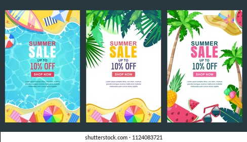 Summer sale vector poster, banner template. Season backgrounds set. Tropical frame with sand beach, water, leaves and fruits.