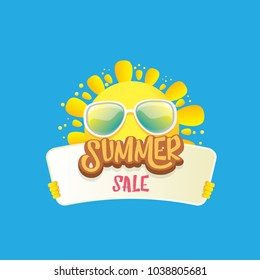 summer sale vector poster or web banner. summer happy sun character holding sign or banner with special offer sale text isolated on white background