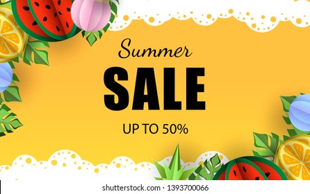 Summer sale vector template with tropical exotic leaves and fruits. Pineapple, watermelon and monstera leaves. paper cut out background card