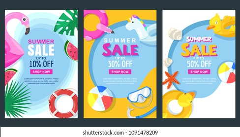 Summer sale vertical banner or poster set. Vector illustration of pool with float rubber toys. Colorful holiday background.