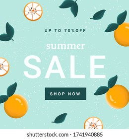 Summer sale web banner template with delicious sweet oranges  on blue background. Flat vector illustration for summer sale advertisement, discount, social media advertisement. - Shutterstock ID 1741940885