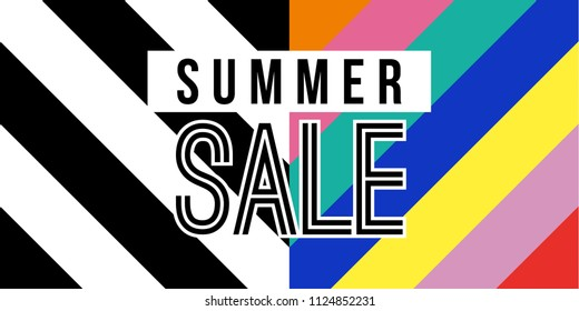 Summer sale web banner in vibrant colors quote for big special offer discount. Modern summertime season typography ad with retro style background. EPS10 vector.