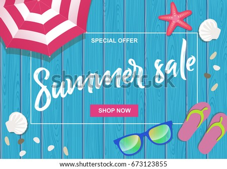 776cbac3b6cc90 Summer Sale Written On Wooden Background Stock Vector (Royalty Free ...