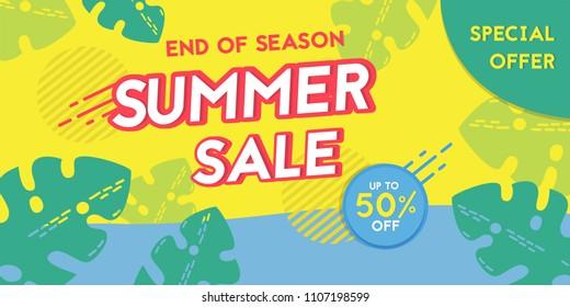 Summer sales flyer & banner vector illustration