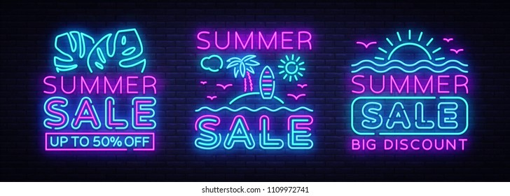 Summer Sales Neon Banners collection Vector. Bright Neon Advertising of Summer Discounts, Design Template, Light Banner, Bright Advertising Brochure. Vector illustration