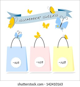 Summer sales shopping bags in pastel tones with white tags isolated