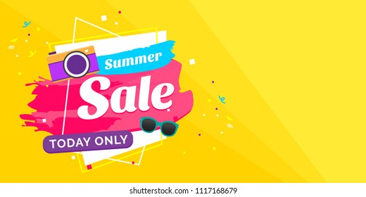 Summer sales vector illutration with colorful typography background for banner or flyer printing