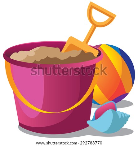 Summer Sand Pail Shovel And Beach Ball EPS 10 Vector