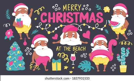 Summer Santa characters. Tropical Christmas and Happy New Year in a warm climate collection. Cute vector Santa Claus and lettering inscription - Merry Christmas at the beach