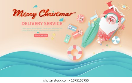 Summer Santa Claus Christmas day July.Delivery service concept cute cartoon character for Xmas design on sea wave water background.Creative paper cut and craft style.web minimal vector illustration